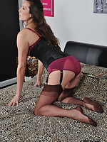 Gorgeous Jane is showing off her new matching lingerie and gorgeous nylon stockings