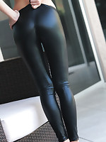 Black Leggings - Nylon Suspender