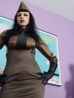 Trinity in a military uniform, waist chincher suspender belt and stockings showing off her big tits and bald meaty pussy. This busty CFNM general demands and instructs you how and when to jerk off for her. Don´t miss all her kinky fetish HD movies too